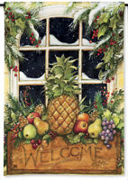 Pineapple Welcome Window Box Winter Holiday Small Garden Banner Flag 12.5x18