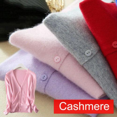 Fashion Womens Slim elastic Knitted V-Neck Cashmere wool Jumper Sweater Cardigan