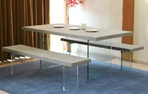 Contemporary Concrete Glass Dining Table Set Table 2 Benches 220cm Long Ebay