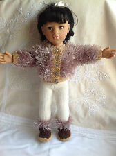 """Dolls Fashion clothes knitting  pattern.18"""" doll. Fur Jacket, leggings and boots"""