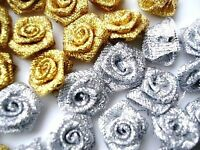 50 Metallic Ribbon Rose Flower/trim/holiday/craft/bow/supply F14-gold,silver,mix