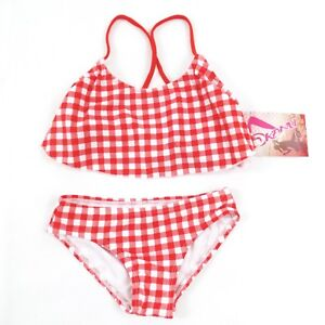 880a3c02688e5 Kanu Surf Girls Red Gingham Bikini 2 Piece Swimsuit Bathing Suit ...