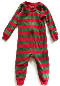 Hatley Brand Christmas Red & Green Striped Footless ...