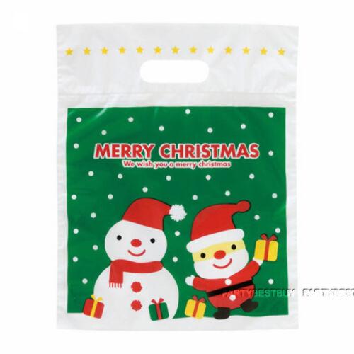 10-50PCS Noël Plastic Carrier Bags ARBRE DE NOEL SANTA CLAUS Jouets Sacs Cadeau