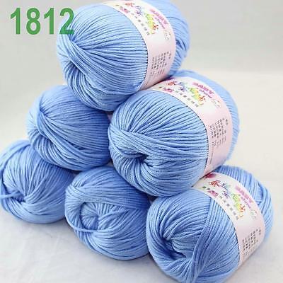 Sale New 6Ballsx50g Soft Cashmere Silk Velvet Baby Hand Knitting Crochet Yarn 12