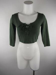 Forever 21 Women's sz M Solid Green Cotton Spandex Lace Up 3/4 Sleeve Crop Top
