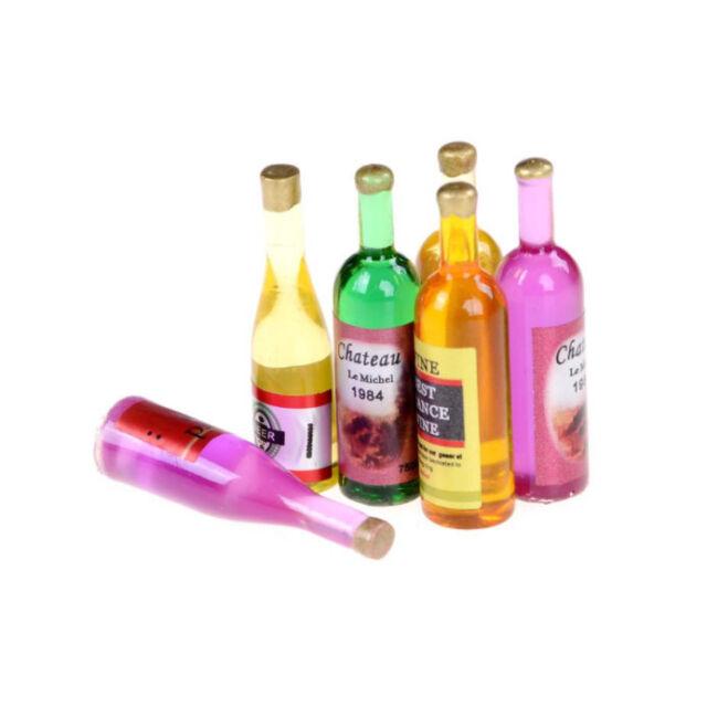 E5M2 6Pcs set Doll house wine bottle 1/12 handmade accessories B8C6