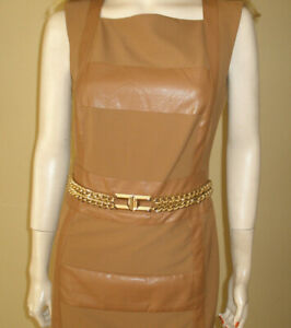 WOW-NEW-8500-ELISABETTA-FRANCHI-ITALY-CHAIN-DRESS-FABRIC-amp-LEATHER-42-6