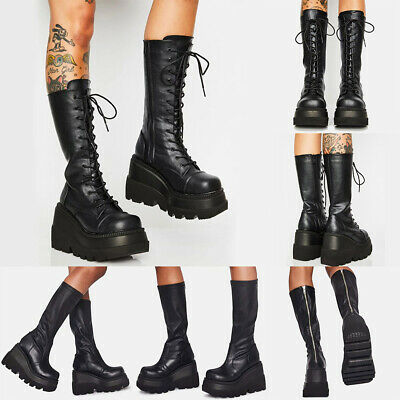Womens Patent Leather Lace Up High Heel Platform Buckle Mid Calf Boots Zip Shoes