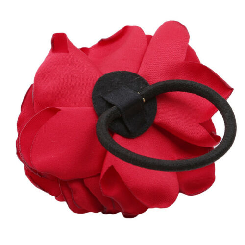 Women Hair Band Rope Elastic Rose Flower Ponytail Holder Scrunchie LH