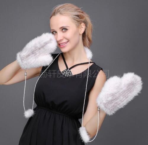 100/% Real Mink Pelz gestrickte Handschuhe Handschuh ist schwarzer Kaffee one siz
