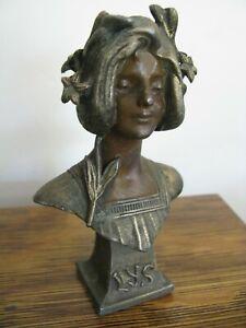 """Antique Art Nouveau Julian Causse Woman Bust LYS Cast Metal Spelter Statue 5"""" #1"""