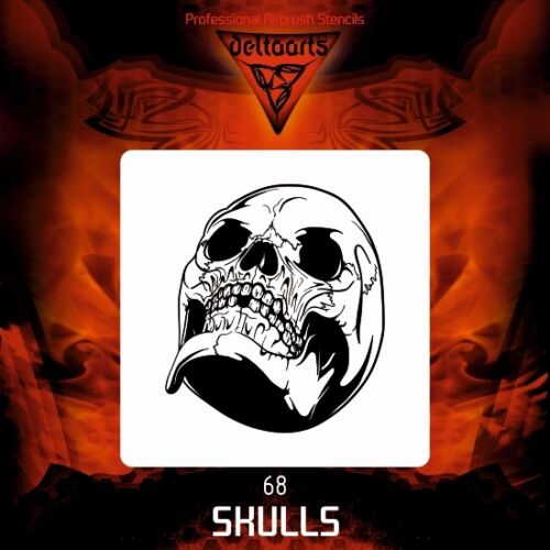 Airbrush stencil template DELTAARTS SKULL 68   4 SIZES AVAILABLE MINI MID XL XXL
