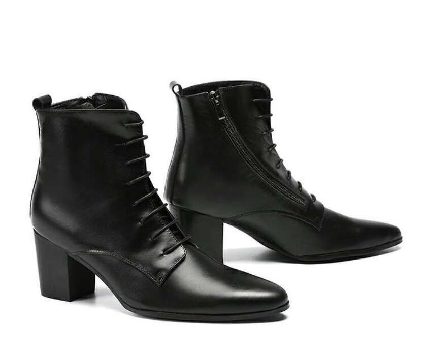 Unique Hombre Moda Cuero Tacones gruesos con Cordones Puntera Puntiaguda británico Zapatos 39-46