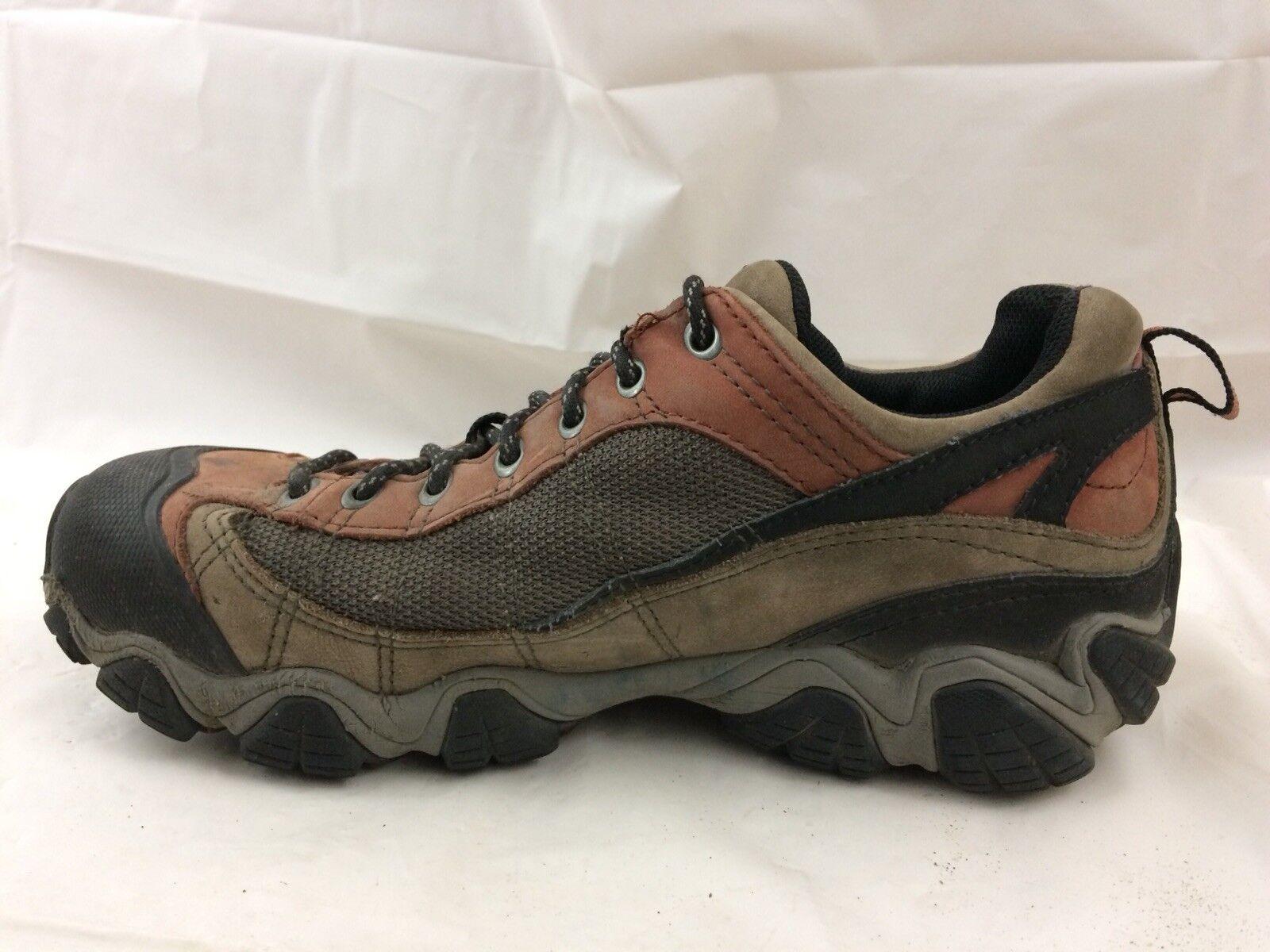 Oboz Mens 9 Medium Hiking Trail shoes Sport Sneaker Red Brown Leather Waterproof