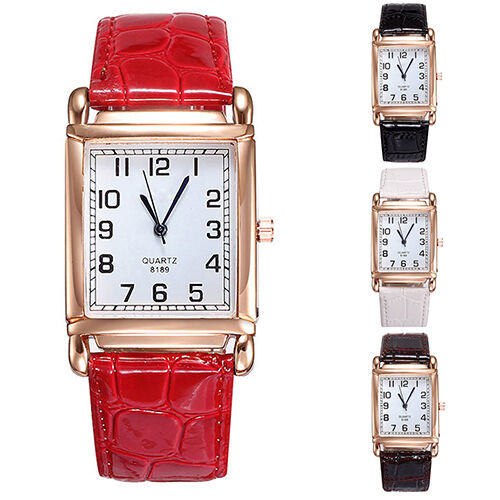 Hot Beautiful Men Women Leather Band Square Dial Quartz Analog Wrist Watch