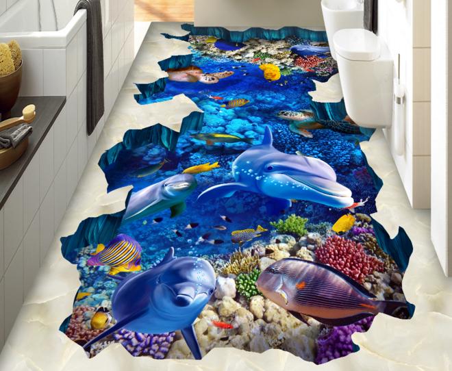 3D Ocean World 4 Floor WallPaper Murals Wallpaper Mural Print AJ WALLPAPER AU