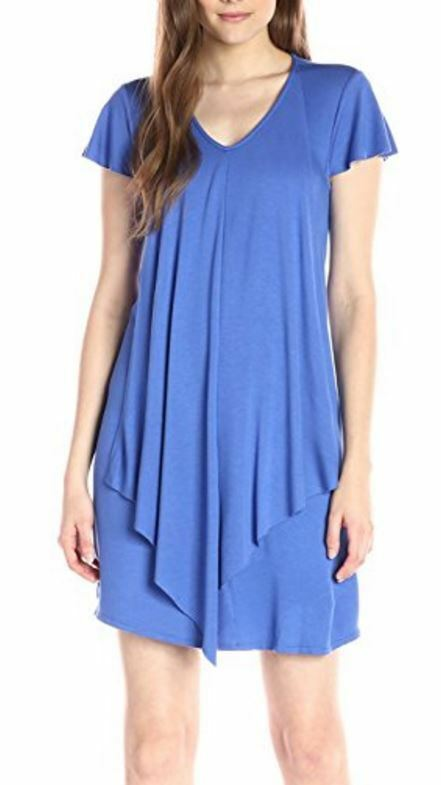 Kensie bluee Bell Drapey French Terry Stretch Jersey Dress -  99