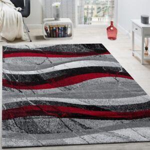 Tapis Design Moderne Poils Ras Vagues Effet Abstrait Gris Noir Rouge