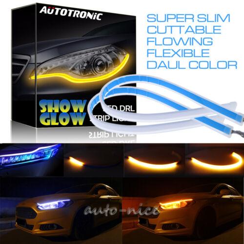 DRL Ultra Thin Car LED Headlight Daytime Running Light Eyebrow Strip Blue Amber