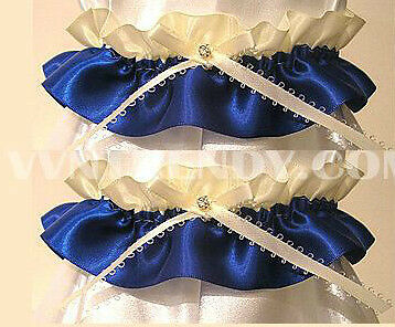 IVORY ROYAL BLUE RHINESTONE WEDDING GARTER GARTERS NEW