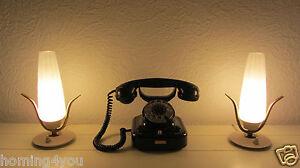 Paar-Tisch-Lampen-Nachttischlampe-Messing-Opalglas-039-50er-Jahre-Leuchten