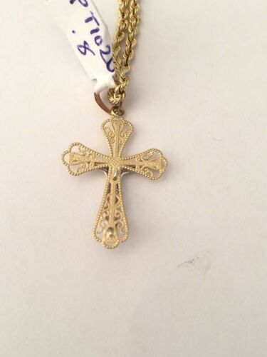 Religious 14k Real Yellow Gold Jesus Crucifix Cross Charm Pendant 18 Rope Chain