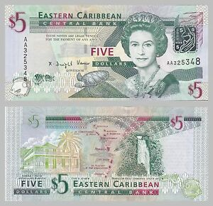 East Caribbean States 5 Dollars 2008 P47a Unz Factories And Mines Glorious Ostkaribische Staaten