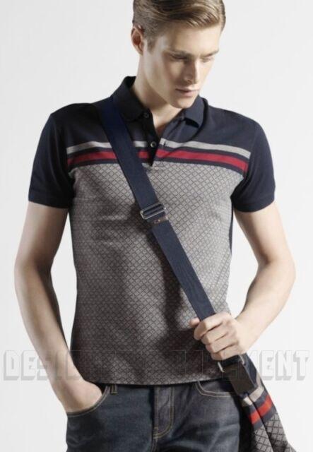GUCCI Mens navy & gray DIAMANTE cotton Pique WEB stripe POLO shirt NWT Authentic