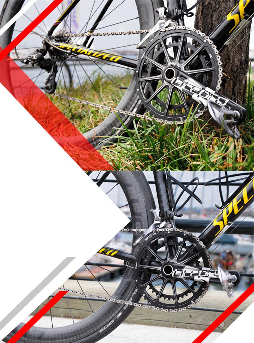 Litepro EDGE Hollow Double Crankset BCD  130mm GXP BB Road 53T 39T Folding Bike  welcome to choose
