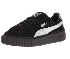 Sz 9 PUMA Explosive Black Suede & Holographic Silver Platform Sneaker Shoes