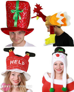be96d6e1e78 NOVELTY CHRISTMAS HATS 4 PACK XMAS FANCY DRESS PARTY OFFICE WORK ...