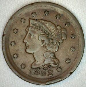 1852-Etats-unis-Tresse-Cheveux-Grand-Cents-Cuivre-Piece-1c-Nous-XF-Extra-Fin