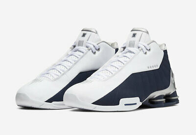 AUTHENTIC NIKE SHOX BB4 White Silver Navy Blue AT7843 100 Vince Carter Men  size | eBay