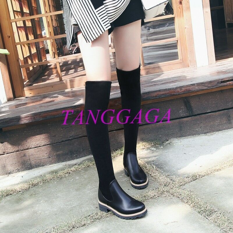 Stretchy Pieced Womens Low Heel Over The Knee Boots Cuffed Round Toe shoes Retro