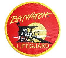 LARGE BAYWATCH IRON ON PATCH The Hoff lifeguard retro TV embroidered cloth badge