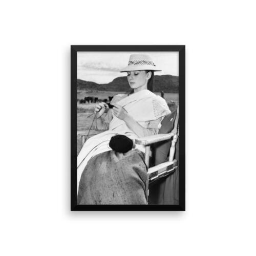 Framed Audrey Hepburn Knitting Poster