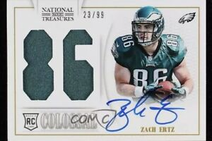 2013-National-Treasures-Jersey-Number-Signatures-23-99-Zach-Ertz-40-Rookie-Auto
