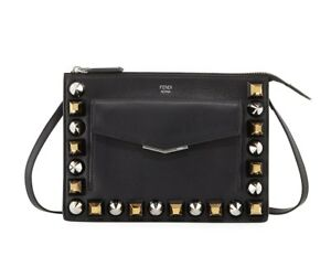 79cc3e7789 Details about Fendi Women's Mixed Stud Calf Leather Pouch & Crossbody Bag,  Black, MSRP $1,300