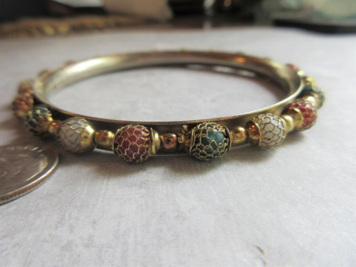 Gold Plated 1990s Beaded Cuff Bracelet - Vintage B