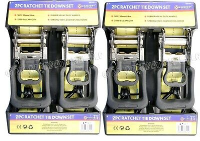 "4PC 2"" X 20'(6M) RATCHET TIE DOWN KIT MARQUEE CAR VAN BOATS TENT STRAPS TRAILERS"