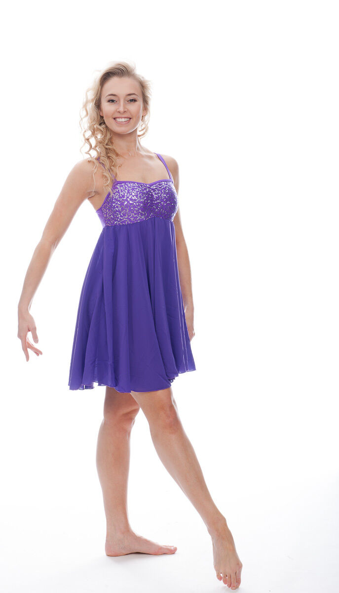 Sequin Lyrical Empire Modern Dress Dance Ballroom Salsa Latin Costume Katz