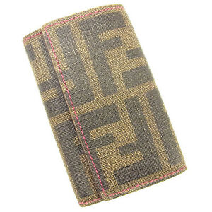 4509fb48403 Fendi Key holder Key case Zucca Pink Beige Woman Authentic Used T513 ...