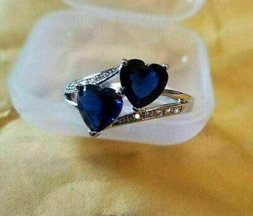 4Ct Heart Cut Blue Sapphire Women/'s Wedding Engagement Ring 14K White Gold Over