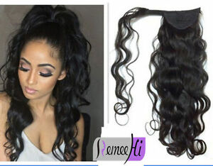Natural Color Black For Women Ponytail Human Hair 10inch 12innch 40g Curly Brazilian Ponytails Clip Extensions