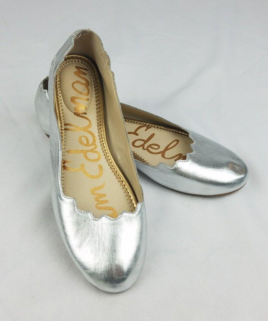 Sam Edelman women 7.5 Finnegan silver metallic flats round toe