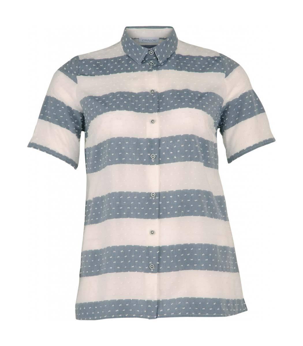 Leichte Chalou Sommer-Blause Weiß Jeans-Blau Große Größen kurzarm Damen A-Linie