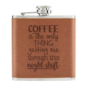 Cafe-Seulement-Thing-Devenir-Me-Par-Night-Shift-170ml-Cuir-PU-Hip-Flasque-Fauve