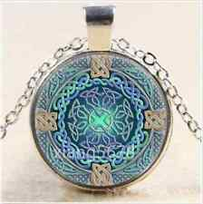DIY Celtic Eye of the World Cabochon Glass Tibet Silver Chain Pendant Necklace