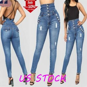 Womens-High-Waisted-Denim-Skinny-Slim-Jeans-Ladies-Stretch-Pencil-Pants-Trousers